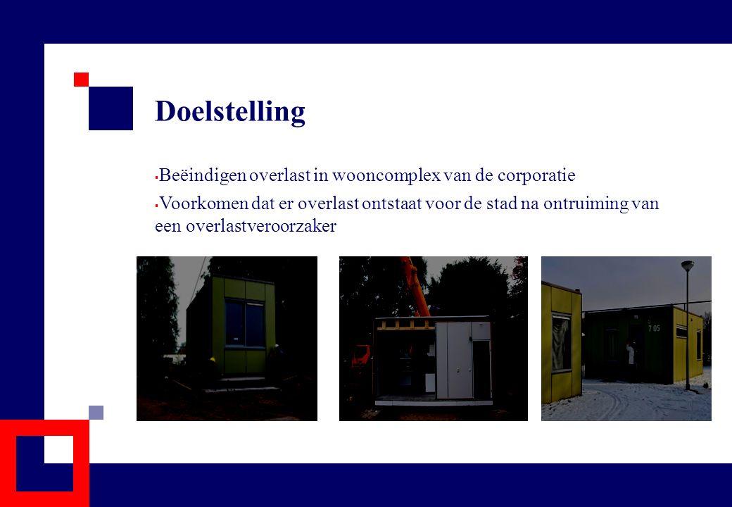 Participanten en samenwerkingsovereenkomst  Eind 2006 overeenstemming over rol van partijen: – Gemeente stelt 2 locaties beschikbaar, infrastructuur en Nuts voorzieningen en voert regie op communicatie – Tiwos, TBV Wonen en WonenBreburg zorgen voor aanschaf, plaatsing en exploitatie van wooneenheden en dagelijks beheer – SMO Traverse en RIBW-Brabant zorgen voor begeleiding – Politie zorgt voor toezicht en handhaving
