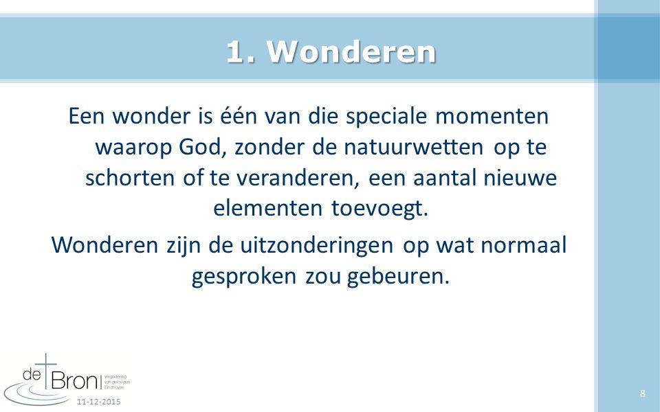 1. Wonderen Een wonder is één van die speciale momenten waarop God, zonder de natuurwetten op te schorten of te veranderen, een aantal nieuwe elemente