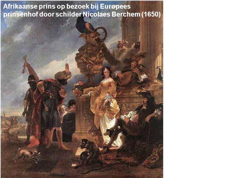 Afrikaanse prins op bezoek bij Europees prinsenhof door schilder Nicolaes Berchem (1650)