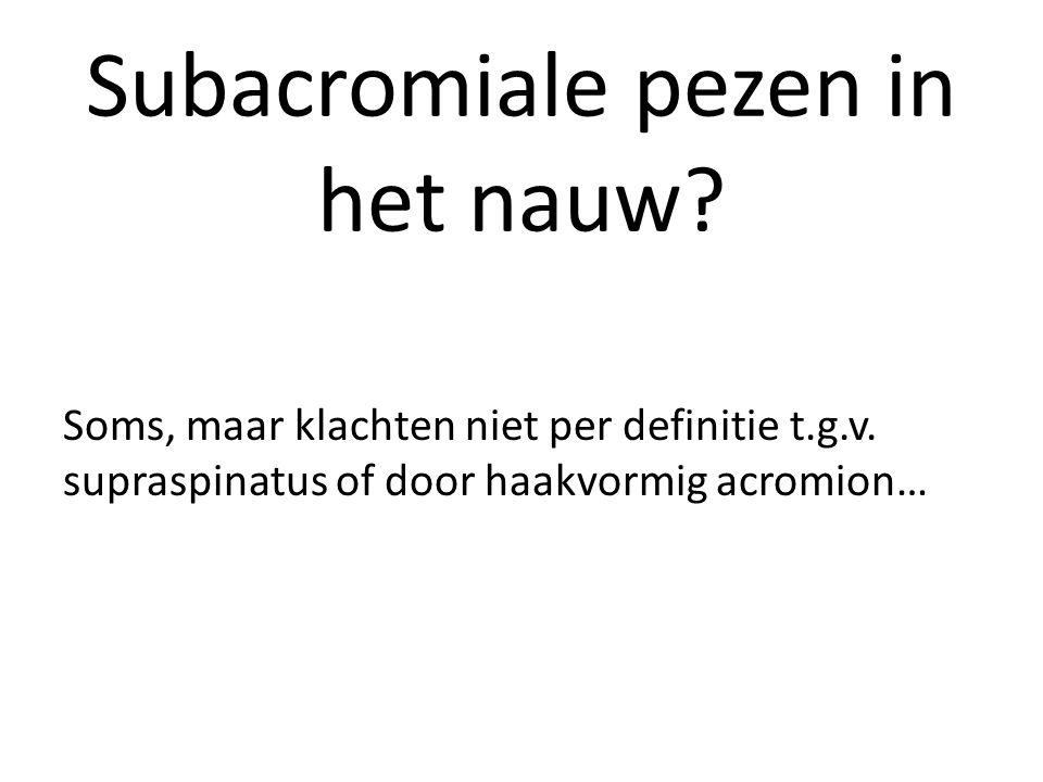 Subacromiale pezen in het nauw? Soms, maar klachten niet per definitie t.g.v. supraspinatus of door haakvormig acromion…