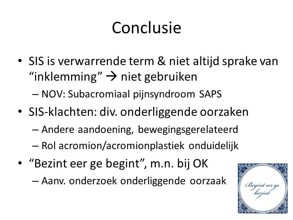 "Conclusie SIS is verwarrende term & niet altijd sprake van ""inklemming""  niet gebruiken – NOV: Subacromiaal pijnsyndroom SAPS SIS-klachten: div. onde"