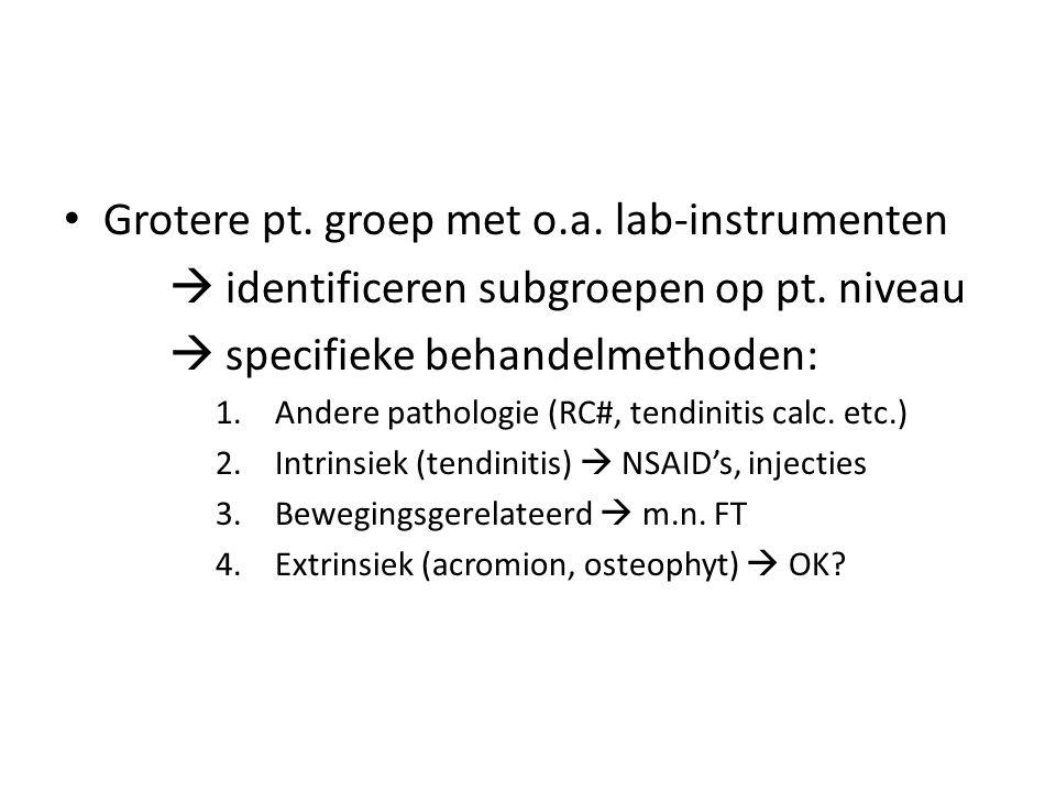 Grotere pt. groep met o.a. lab-instrumenten  identificeren subgroepen op pt. niveau  specifieke behandelmethoden: 1.Andere pathologie (RC#, tendinit
