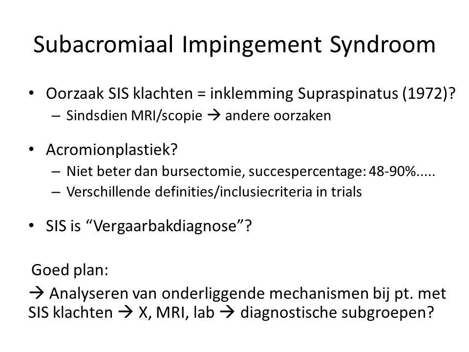 Subacromiaal Impingement Syndroom Oorzaak SIS klachten = inklemming Supraspinatus (1972)? – Sindsdien MRI/scopie  andere oorzaken Acromionplastiek? –