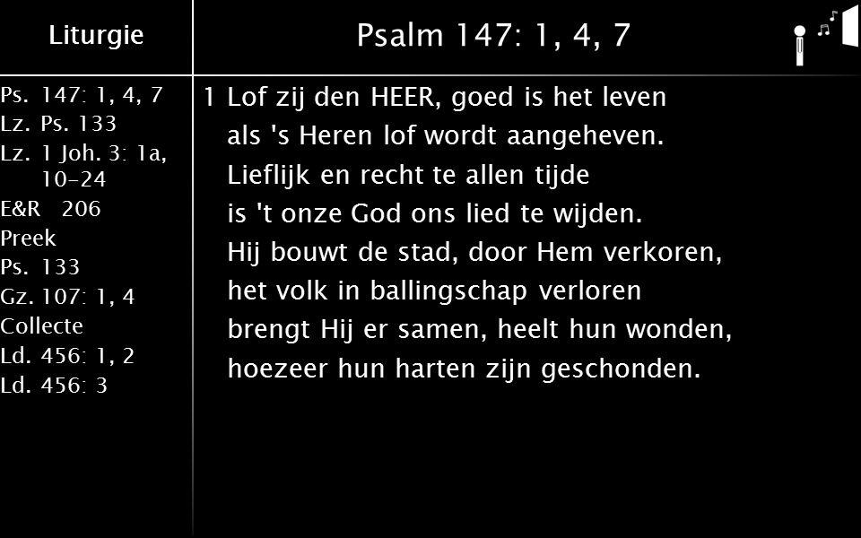 Ps.147: 1, 4, 7 Lz.Ps. 133 Lz.1 Joh. 3: 1a, 10-24 E&R206 Preek Ps.133 Gz.107: 1, 4 Collecte Ld.456: 1, 2 Ld.456: 3 Liturgie Psalm 147: 1, 4, 7 1Lof zi