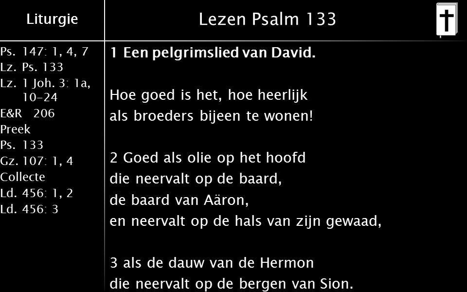 Ps.147: 1, 4, 7 Lz.Ps. 133 Lz.1 Joh. 3: 1a, 10-24 E&R206 Preek Ps.133 Gz.107: 1, 4 Collecte Ld.456: 1, 2 Ld.456: 3 Liturgie Lezen Psalm 133 1 Een pelg