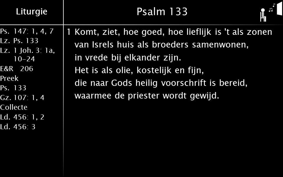 Ps.147: 1, 4, 7 Lz.Ps. 133 Lz.1 Joh. 3: 1a, 10-24 E&R206 Preek Ps.133 Gz.107: 1, 4 Collecte Ld.456: 1, 2 Ld.456: 3 Liturgie Psalm 133 1Komt, ziet, hoe