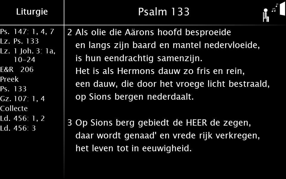 Liturgie Ps.147: 1, 4, 7 Lz.Ps. 133 Lz.1 Joh. 3: 1a, 10-24 E&R206 Preek Ps.133 Gz.107: 1, 4 Collecte Ld.456: 1, 2 Ld.456: 3 Liturgie Psalm 133 2Als ol