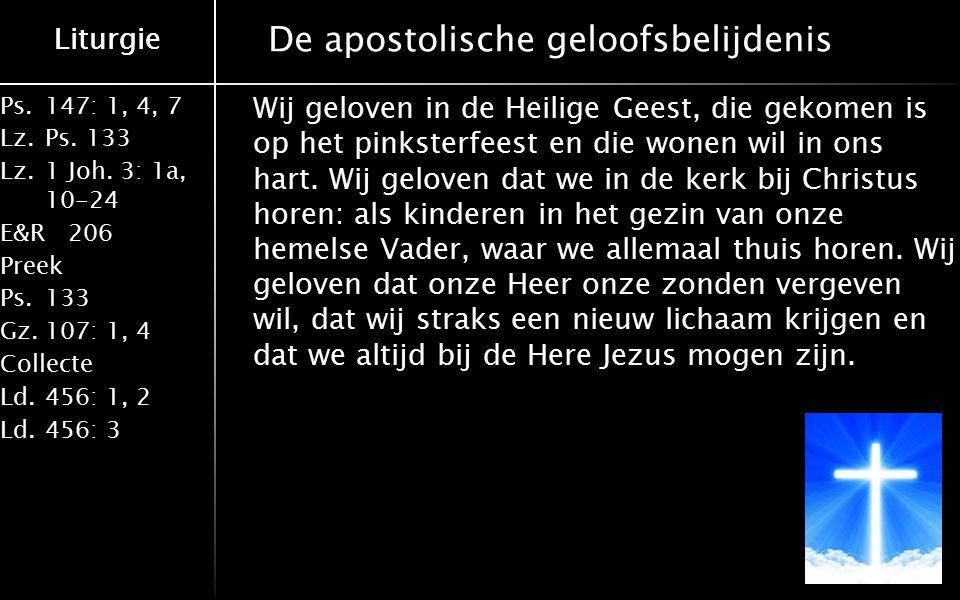 Liturgie Ps.147: 1, 4, 7 Lz.Ps. 133 Lz.1 Joh. 3: 1a, 10-24 E&R206 Preek Ps.133 Gz.107: 1, 4 Collecte Ld.456: 1, 2 Ld.456: 3 Liturgie De apostolische g