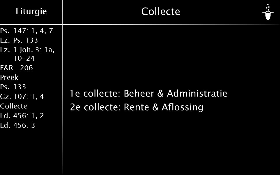 Ps.147: 1, 4, 7 Lz.Ps. 133 Lz.1 Joh. 3: 1a, 10-24 E&R206 Preek Ps.133 Gz.107: 1, 4 Collecte Ld.456: 1, 2 Ld.456: 3 Liturgie Collecte 1e collecte: Behe