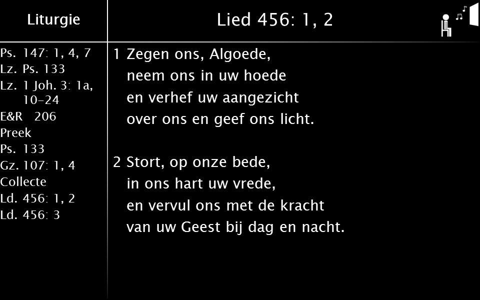 Ps.147: 1, 4, 7 Lz.Ps. 133 Lz.1 Joh. 3: 1a, 10-24 E&R206 Preek Ps.133 Gz.107: 1, 4 Collecte Ld.456: 1, 2 Ld.456: 3 Liturgie Lied 456: 1, 2 1Zegen ons,