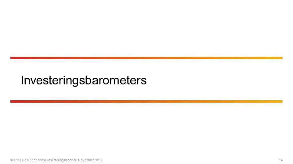 14© GfK | De Nederlandse Investeringsmonitor | November 2015 Investeringsbarometers