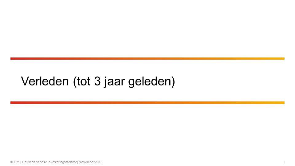 10© GfK   De Nederlandse Investeringsmonitor   November 2015 Vier op de vijf bedrijven heeft de afgelopen 3 jaar een investering gedaan Penetratie investeringen in bedrijfsmiddelen in het verleden Basis: alle bedrijven (n = 2233) Circa vier op de vijf bedrijven (78%) heeft de afgelopen 3 jaar een investering gedaan.