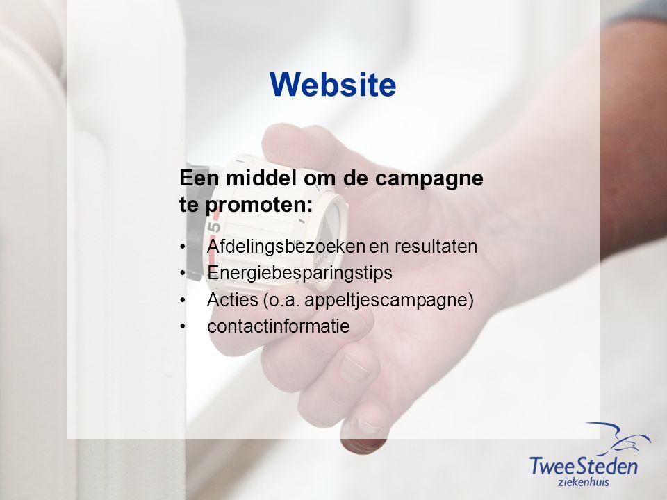 Website Een middel om de campagne te promoten: Afdelingsbezoeken en resultaten Energiebesparingstips Acties (o.a.