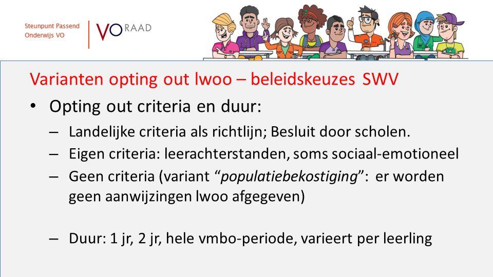 Varianten opting out lwoo – beleidskeuzes SWV Opting out criteria en duur: – Landelijke criteria als richtlijn; Besluit door scholen. – Eigen criteria