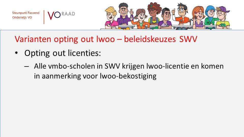 Varianten opting out lwoo – beleidskeuzes SWV Opting out licenties: – Alle vmbo-scholen in SWV krijgen lwoo-licentie en komen in aanmerking voor lwoo-bekostiging