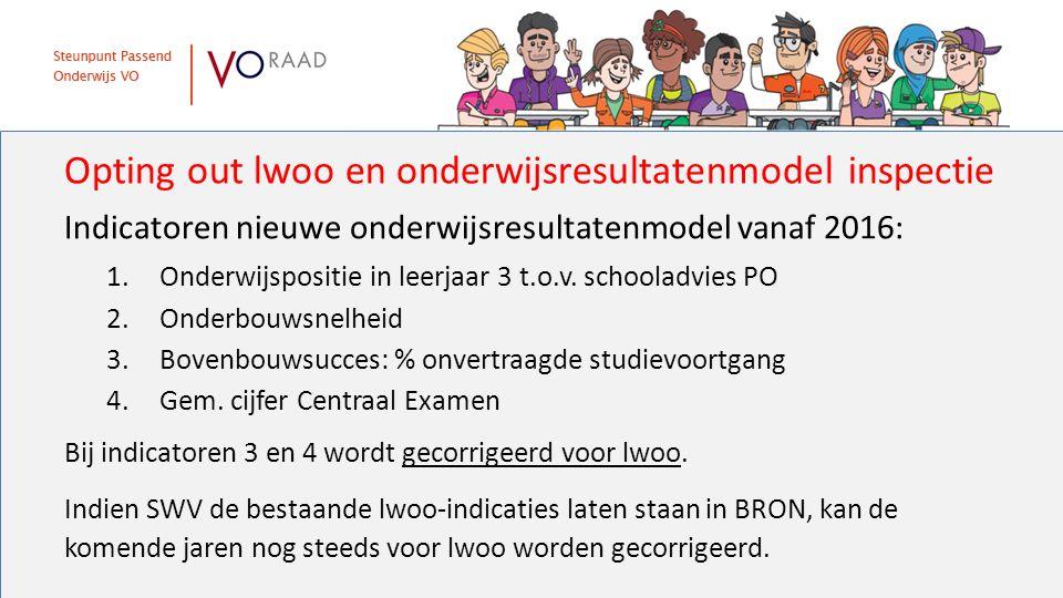 Opting out lwoo en onderwijsresultatenmodel inspectie Indicatoren nieuwe onderwijsresultatenmodel vanaf 2016: 1.Onderwijspositie in leerjaar 3 t.o.v.