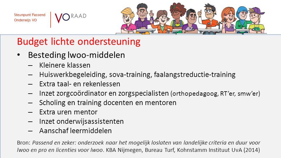 Budget lichte ondersteuning Besteding lwoo-middelen – Kleinere klassen – Huiswerkbegeleiding, sova-training, faalangstreductie-training – Extra taal-