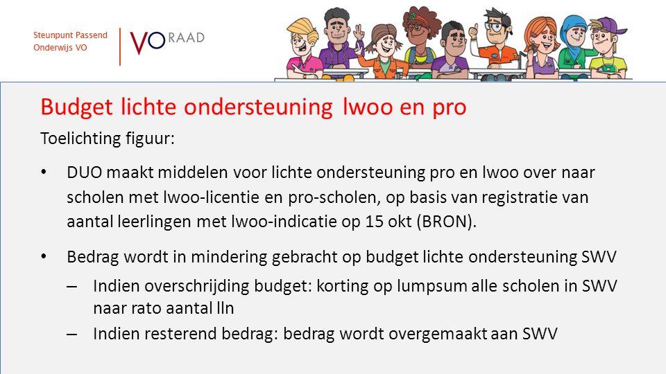 Toelichting figuur: DUO maakt middelen voor lichte ondersteuning pro en lwoo over naar scholen met lwoo-licentie en pro-scholen, op basis van registra