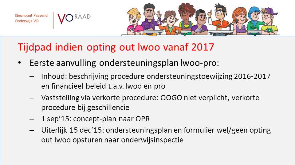 Tijdpad indien opting out lwoo vanaf 2017 Eerste aanvulling ondersteuningsplan lwoo-pro: – Inhoud: beschrijving procedure ondersteuningstoewijzing 2016-2017 en financieel beleid t.a.v.