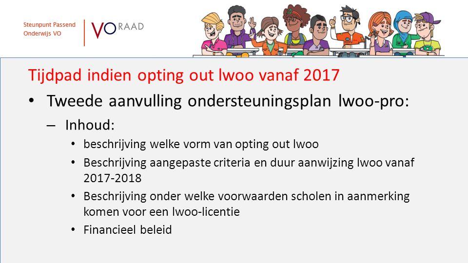 Tijdpad indien opting out lwoo vanaf 2017 Tweede aanvulling ondersteuningsplan lwoo-pro: – Inhoud: beschrijving welke vorm van opting out lwoo Beschri
