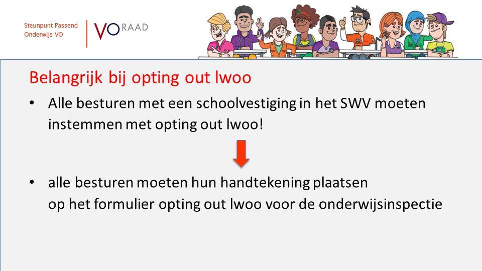 Belangrijk bij opting out lwoo Alle besturen met een schoolvestiging in het SWV moeten instemmen met opting out lwoo! alle besturen moeten hun handtek