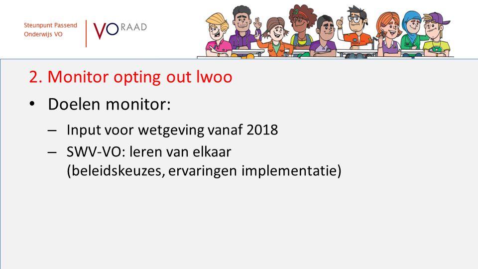 2. Monitor opting out lwoo Doelen monitor: – Input voor wetgeving vanaf 2018 – SWV-VO: leren van elkaar (beleidskeuzes, ervaringen implementatie)