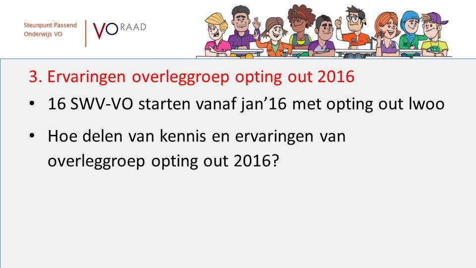 3. Ervaringen overleggroep opting out 2016 16 SWV-VO starten vanaf jan'16 met opting out lwoo Hoe delen van kennis en ervaringen van overleggroep opti