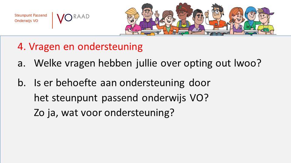 4. Vragen en ondersteuning a.Welke vragen hebben jullie over opting out lwoo? b.Is er behoefte aan ondersteuning door het steunpunt passend onderwijs