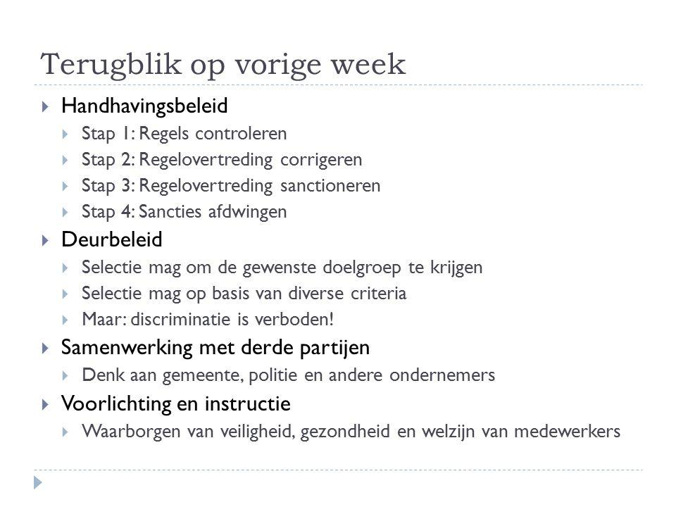 Terugblik op vorige week  Handhavingsbeleid  Stap 1: Regels controleren  Stap 2: Regelovertreding corrigeren  Stap 3: Regelovertreding sanctionere