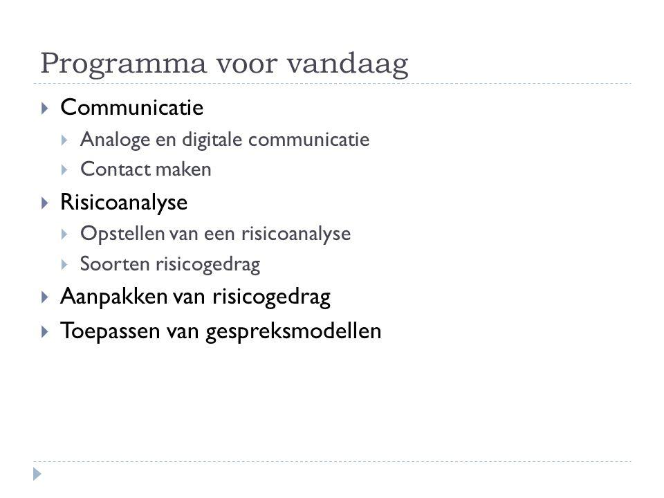 Programma voor vandaag  Communicatie  Analoge en digitale communicatie  Contact maken  Risicoanalyse  Opstellen van een risicoanalyse  Soorten risicogedrag  Aanpakken van risicogedrag  Toepassen van gespreksmodellen