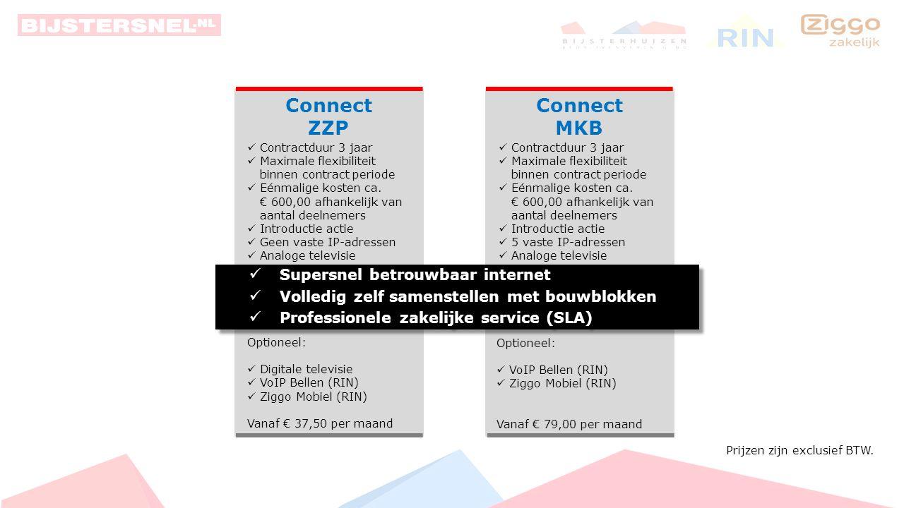 Connect MKB Connect ZZP Supersnel betrouwbaar internet Volledig zelf samenstellen met bouwblokken Professionele zakelijke service (SLA) Supersnel betrouwbaar internet Volledig zelf samenstellen met bouwblokken Professionele zakelijke service (SLA) Abonnementsvormen supersnel zakelijk internet Bijsterhuizen:
