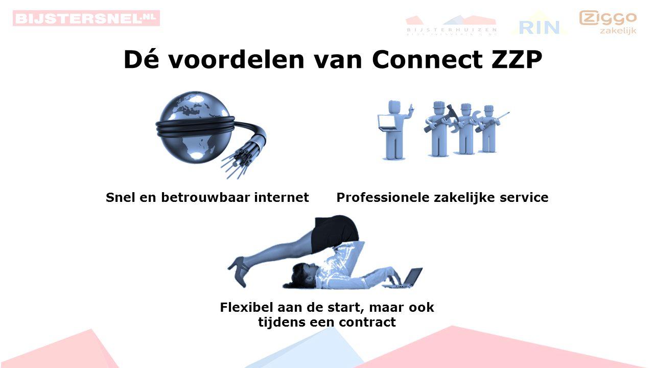 Connect ZZP ZAKELIJK INTERNET Start € 37, 50 per maand 60 / 10 Mb/s ZAKELIJK INTERNET Pro Plus € 65, 00 per maand 500 / 40 Mb/s ZAKELIJK INTERNET Compleet € 45, 00 per maand 130 / 30 Mb/s ZAKELIJK INTERNET Pro € 55, 00 per maand 200 / 40 Mb/s Geen vaste IP-adressen Prijzen zijn exclusief BTW.