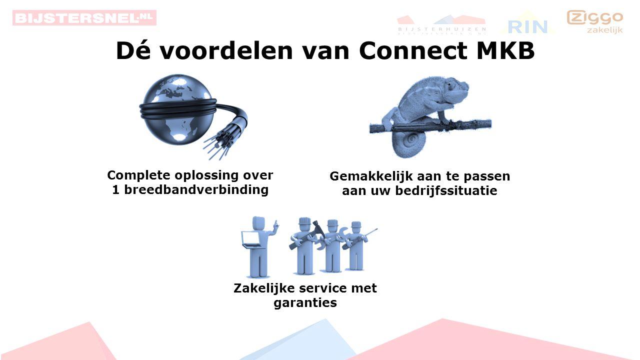 ZAKELIJK INTERNET Pro Plus € 119, 00 per maand 500 / 40 Mb/s ZAKELIJK INTERNET Compleet € 79, 00 per maand 130 / 30 Mb/s ZAKELIJK INTERNET Pro € 99, 00 per maand 200 / 40 Mb/s Connect MKB 5 vaste IP-adressen Prijzen zijn exclusief BTW.