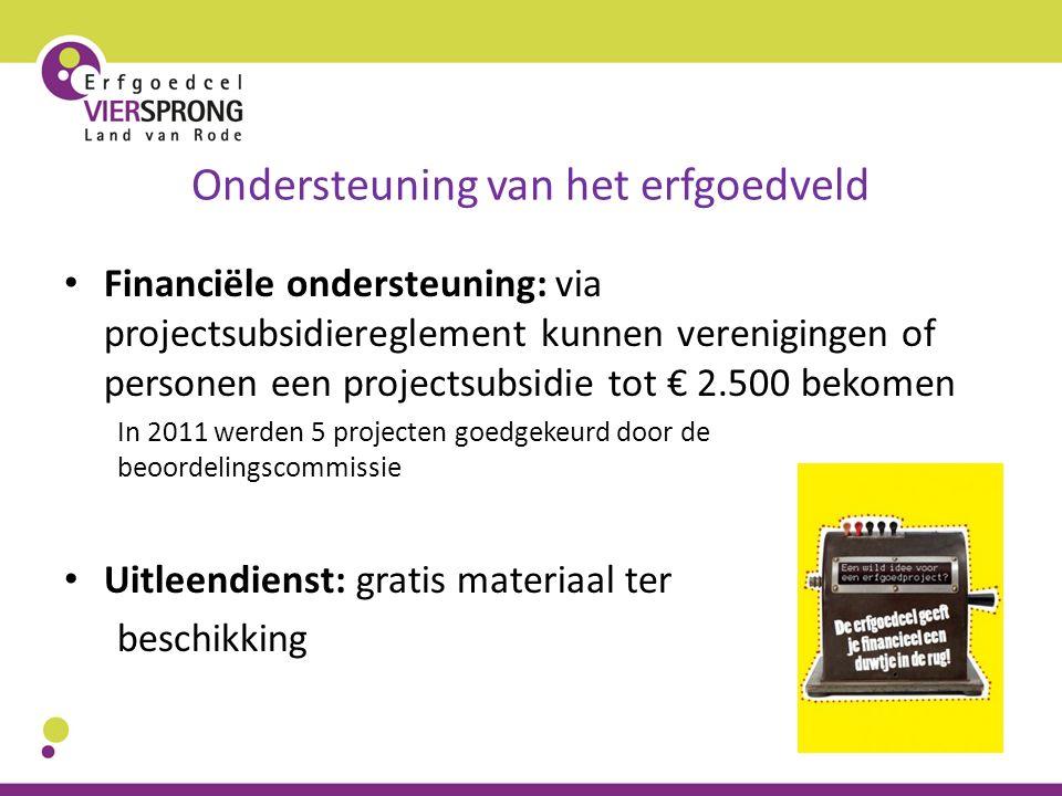 Ondersteuning van het erfgoedveld Financiële ondersteuning: via projectsubsidiereglement kunnen verenigingen of personen een projectsubsidie tot € 2.5