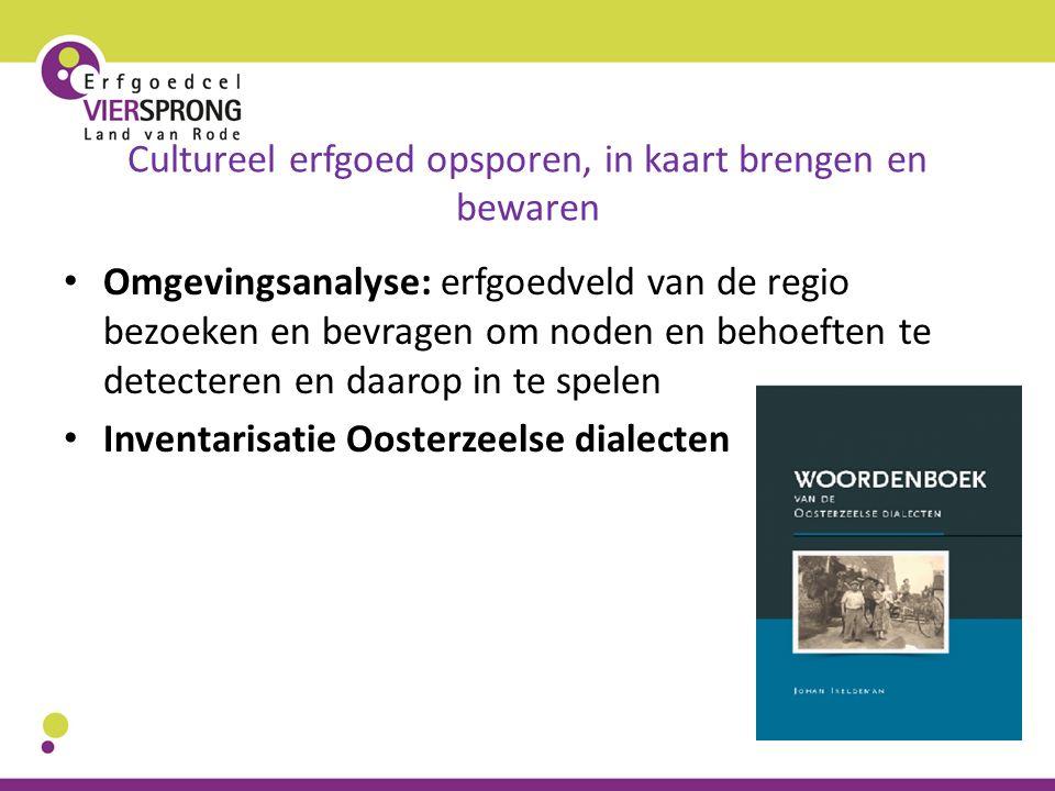 Cultureel erfgoed opsporen, in kaart brengen en bewaren Omgevingsanalyse: erfgoedveld van de regio bezoeken en bevragen om noden en behoeften te detec