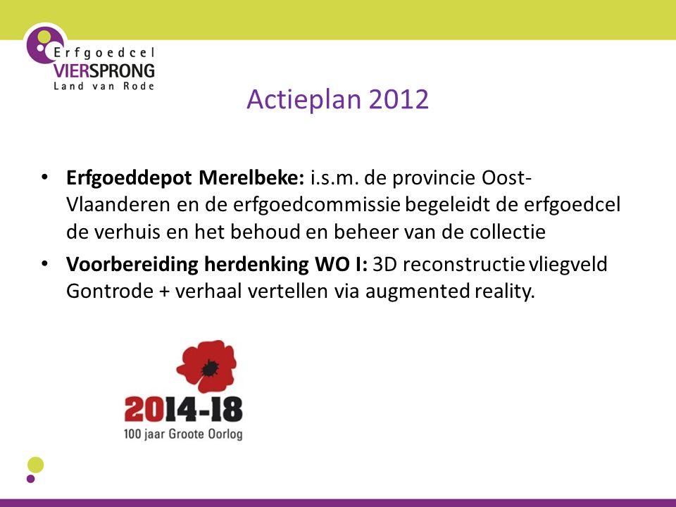 Actieplan 2012 Erfgoeddepot Merelbeke: i.s.m. de provincie Oost- Vlaanderen en de erfgoedcommissie begeleidt de erfgoedcel de verhuis en het behoud en