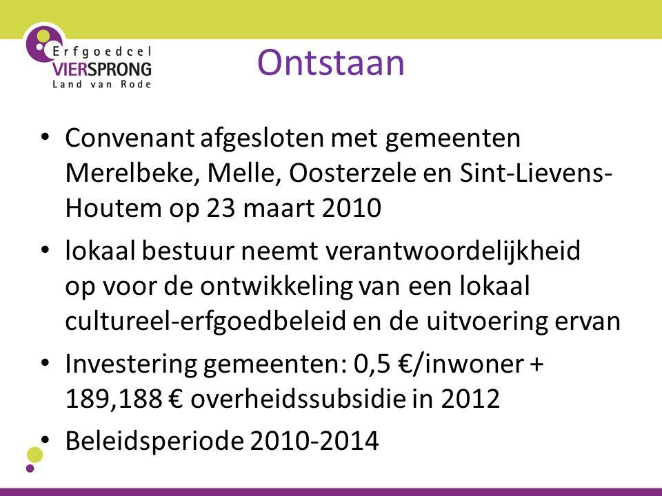 Ontstaan Convenant afgesloten met gemeenten Merelbeke, Melle, Oosterzele en Sint-Lievens- Houtem op 23 maart 2010 lokaal bestuur neemt verantwoordelij