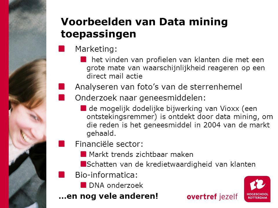 Voorbeelden van Data mining toepassingen Marketing: het vinden van profielen van klanten die met een grote mate van waarschijnlijkheid reageren op een direct mail actie Analyseren van foto's van de sterrenhemel Onderzoek naar geneesmiddelen: de mogelijk dodelijke bijwerking van Vioxx (een ontstekingsremmer) is ontdekt door data mining, om die reden is het geneesmiddel in 2004 van de markt gehaald.