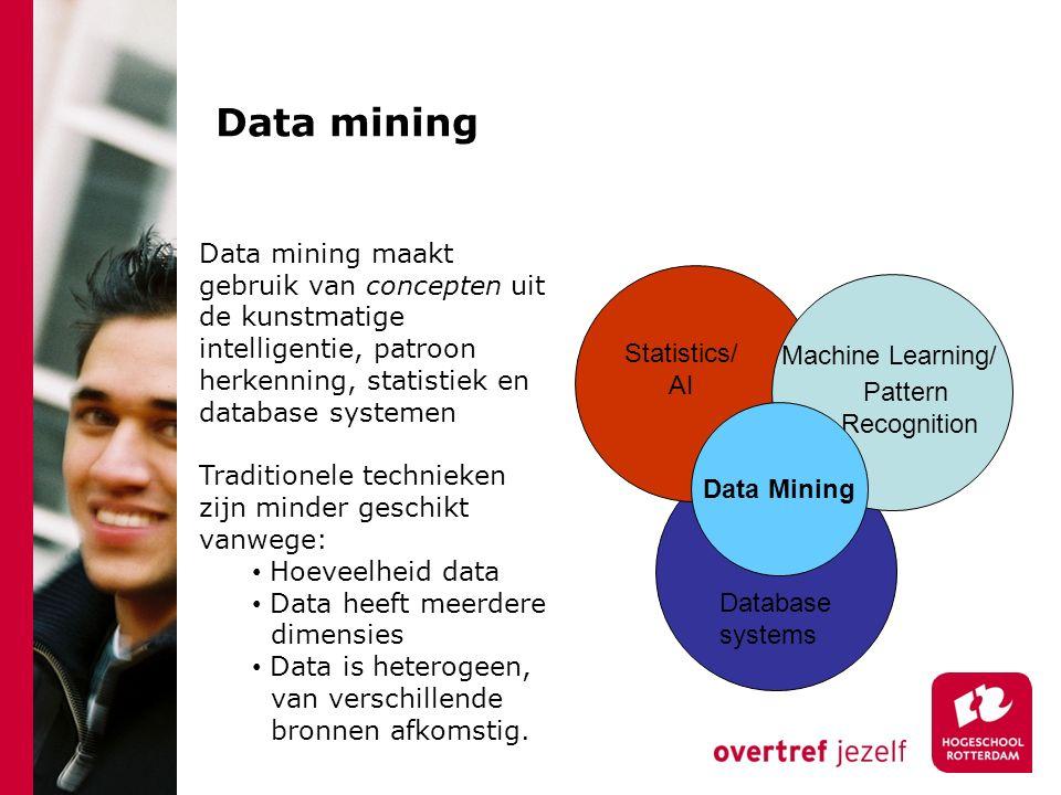 Data mining Machine Learning/ Pattern Recognition Statistics/ AI Data Mining Database systems Data mining maakt gebruik van concepten uit de kunstmatige intelligentie, patroon herkenning, statistiek en database systemen Traditionele technieken zijn minder geschikt vanwege: Hoeveelheid data Data heeft meerdere dimensies Data is heterogeen, van verschillende bronnen afkomstig.