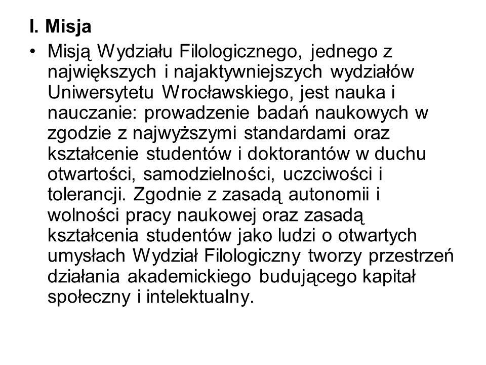 I. Misja Misją Wydziału Filologicznego, jednego z największych i najaktywniejszych wydziałów Uniwersytetu Wrocławskiego, jest nauka i nauczanie: prowa
