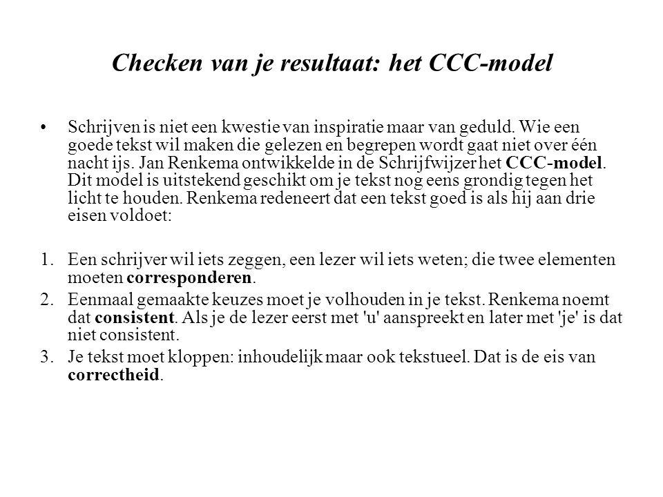 Checken van je resultaat: het CCC-model Schrijven is niet een kwestie van inspiratie maar van geduld.