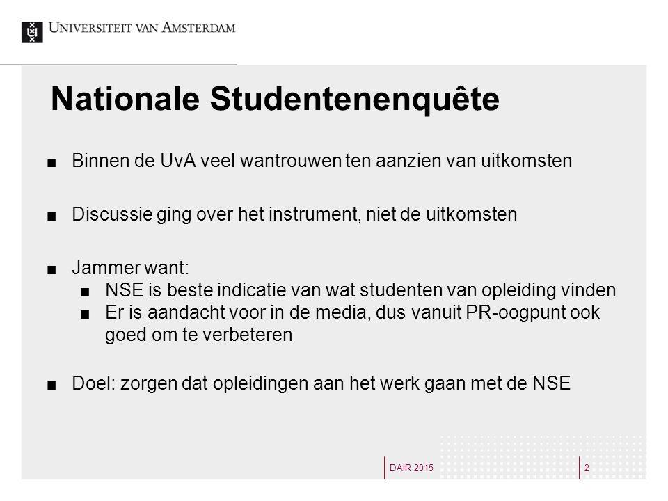 Vijf Fasen Een organisatie doorloopt vijf fasen bij het verwerken van onderzoeksuitkomsten 3DAIR 2015 1 e Fase: Het instrument deugt niet (validiteit) 2 e Fase: Het instrument deugt wel, maar de uitkomsten zijn niet representatief (respons is laag, alleen klagers doen mee) 3 e Fase: De uitkomsten kloppen, maar we kunnen er niets aan doen (UvA (Amsterdamse) student is kritischer, geen handvaten voor actie) 4 e Fase: We kunnen er wel wat aan doen, maar we hebben er geen geld/middelen voor 5 e Fase: Acceptatie/werken aan verbeteringen