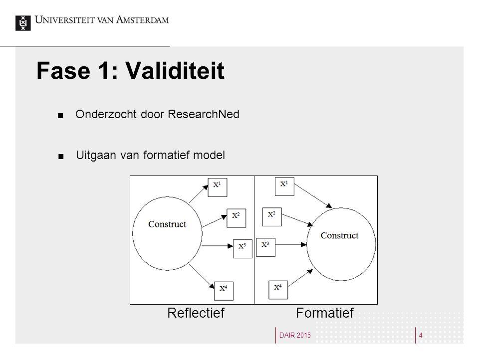 Fase 1: Validiteit Onderzocht door ResearchNed 4DAIR 2015 Reflectief Formatief Uitgaan van formatief model
