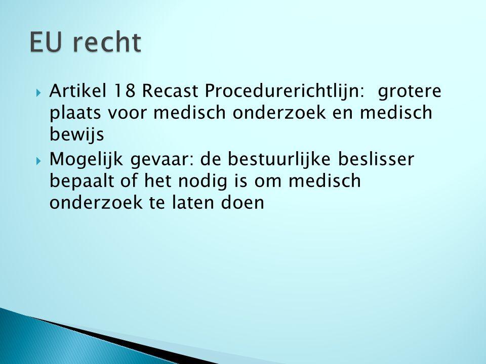  Artikel 18 Recast Procedurerichtlijn: grotere plaats voor medisch onderzoek en medisch bewijs  Mogelijk gevaar: de bestuurlijke beslisser bepaalt of het nodig is om medisch onderzoek te laten doen
