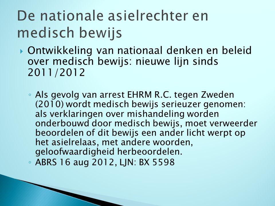  Ontwikkeling van nationaal denken en beleid over medisch bewijs: nieuwe lijn sinds 2011/2012 ◦ Als gevolg van arrest EHRM R.C.