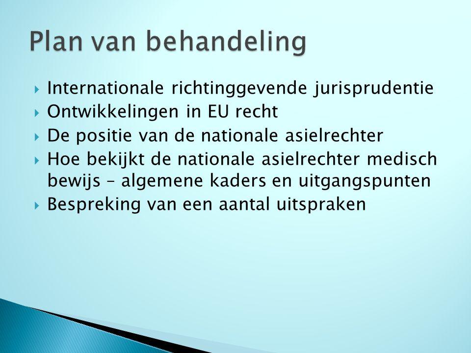  Asielrecht is sinds Verdrag Amsterdam 1999 EU recht – veel richtlijnen, oa Asielprocedurerichtlijn, doel is uiteindelijk voor alle EU landen eenvormige procedure (in twee stappen)  Hof van Justitie van de EU: beperkt aantal arresten over asiel, vooralsnog geen arresten over medisch bewijs  Voor medisch bewijs van belang: recast Procedurerichtlijn artikel 18