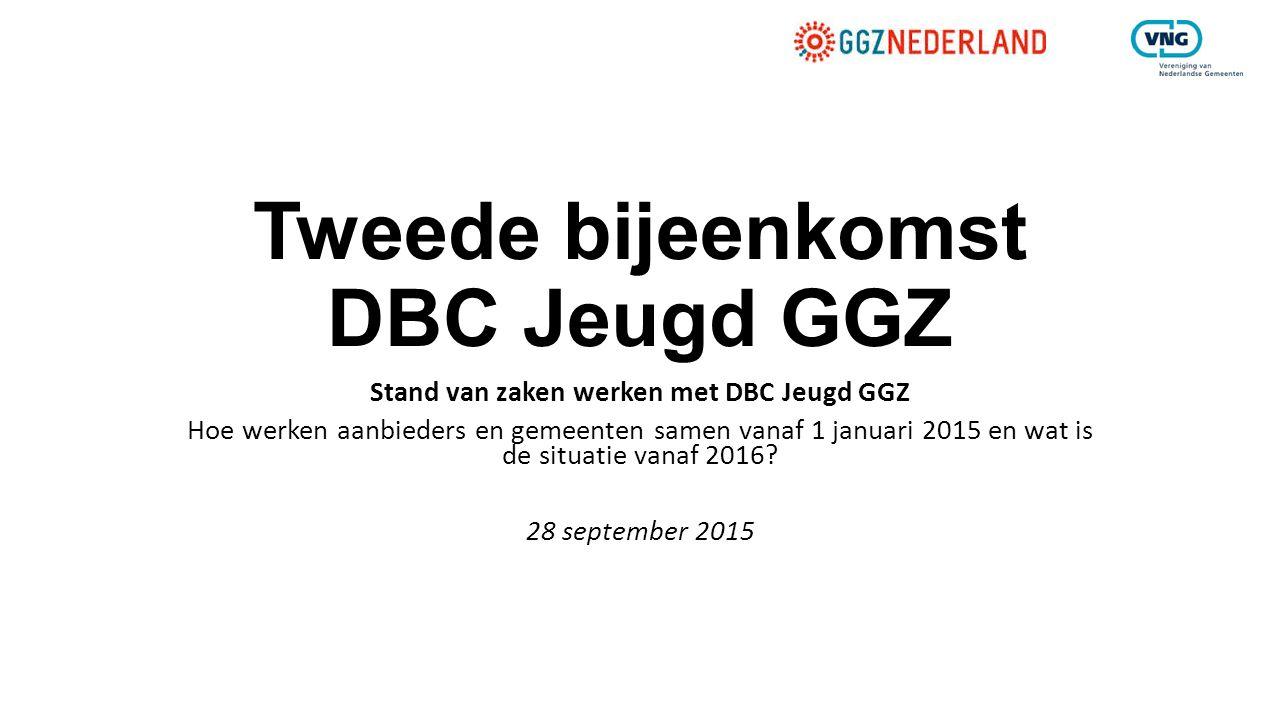 Tweede bijeenkomst DBC Jeugd GGZ Stand van zaken werken met DBC Jeugd GGZ Hoe werken aanbieders en gemeenten samen vanaf 1 januari 2015 en wat is de s