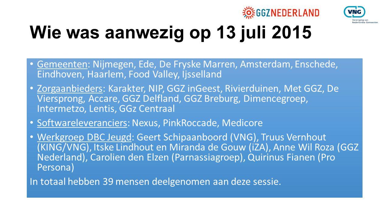 Wie was aanwezig op 13 juli 2015 Gemeenten: Nijmegen, Ede, De Fryske Marren, Amsterdam, Enschede, Eindhoven, Haarlem, Food Valley, Ijsselland Zorgaanb