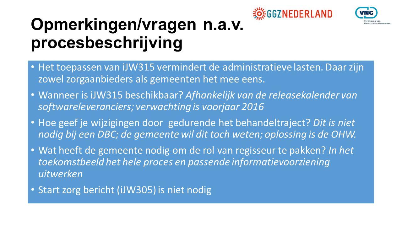Opmerkingen/vragen n.a.v. procesbeschrijving Het toepassen van iJW315 vermindert de administratieve lasten. Daar zijn zowel zorgaanbieders als gemeent