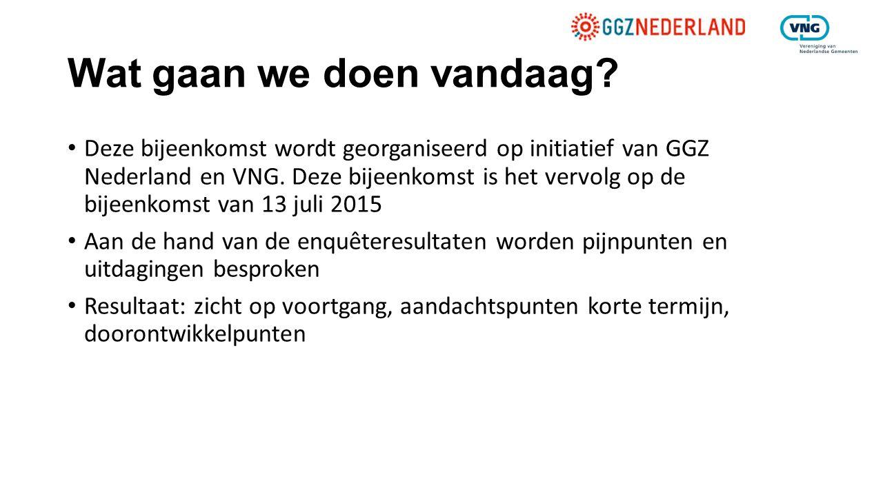 Wat gaan we doen vandaag? Deze bijeenkomst wordt georganiseerd op initiatief van GGZ Nederland en VNG. Deze bijeenkomst is het vervolg op de bijeenkom